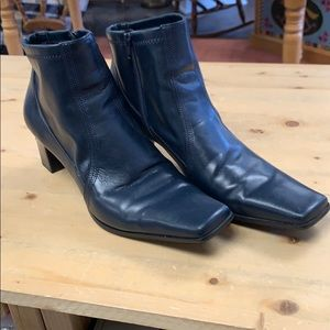 Franco Sarto square toe navy boots